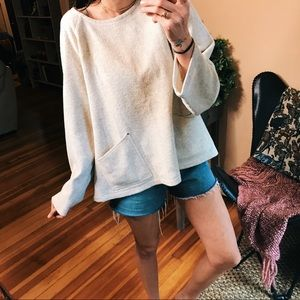 J Jill gray off white sweater with pocket details